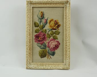 Needlepoint roses framed picture under glass, Vintage flower needlepoint, Framed needlepoint, Rose decor, Cottage chic