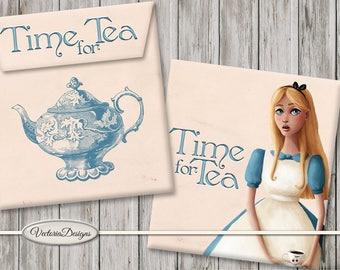 Alice in Wonderland Tea Bag Envelopes Printable Paper Crafting Pink DIY digital download instant download digital collage sheet - VDTEAL1625