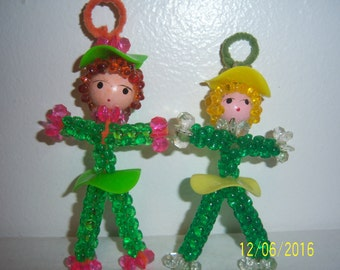 Hand Crafted Hand Painted Beaded Dolls Set of Two - Doll Miniature - Kitsch Dolls Christmas Decoration - 1960s Dolls - Handmade Beaded Doll