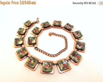 ON SALE Exceptional Matisse Enameled Copper Necklace - Mid Century Geometric Collar Necklace - 1950s Modernist