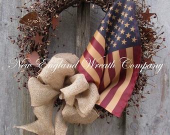 Valentine's Wreath, Americana Wreath, Rustic Heart Wreath, Primitive Valentine's Wreath, Patriotic Wreath, Tea Stained Flag, Flag Wreath