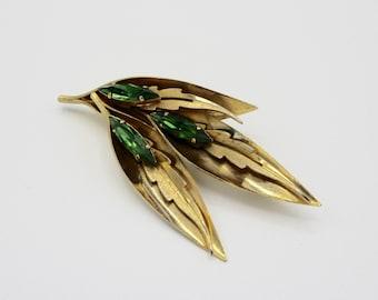 Vintage Leaf Brooch Pin Green Rhinestones