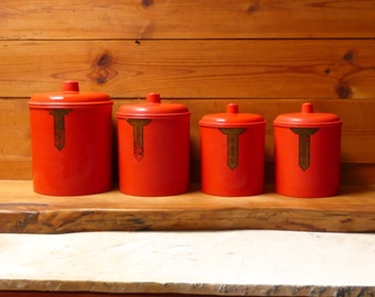 Vintage 1930's Rare Australian Art Deco Sellex Red Bakelite Set of 4 Kitchen Canisters