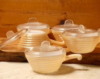 Vintage Mid Century Fire King Peach Lusture Ramekins Set of Six with Lids