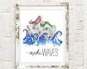 Mermaid Illustration Art Print