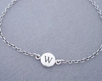 Silver initial Charm Bracelet, W Initial Bracelet, Silver Bracelet, Letter W Bracelet, Sterling Silver, W