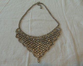 vintage rhinestone bib necklace clear silver dangle crystals