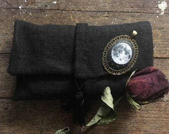 Black Linen Tarot Card Bag with Brooch ~ Wrap Clutch for Tarot, Oracle, Runes, Crystals ~ Witch Gypsy Fortune Teller Occult Gothic Moon