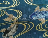 Koi fish, dark teal, gold metallic, 1/2 yard, pure cotton fabric