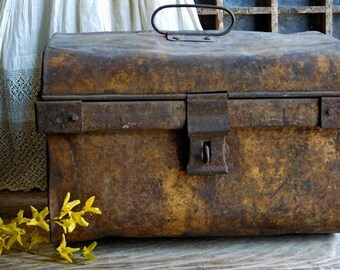 Primitive Antique Metal Trunk, Luggage Chest , Travel Box