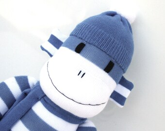 Patrick the Sock Monkey - blue and white stripes - *READY TO SHIP*