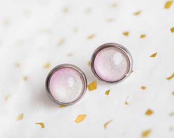 Pale Pink Ombre Studs, Pink, Stud Earrings, Pastel Pink, Ombre Stud Earrings, Pink Studs, Pale Pink Earrings, Spring Wedding, Bridesmaid