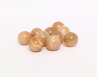 Peach Moonstone Beads, Set of 10