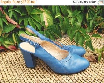 SALE Vintage 60's Blue Mary Janes  blue slingbackUS 6.5 UK 4