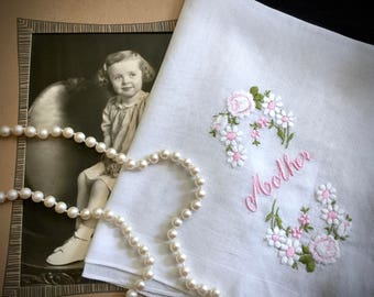 """Vintage """"Mother"""" Embroidered Handkerchief - Embroidered Linen - Vintage Hankies - Mothers Day - Birthday - Mother of the Bride - Gifts"""