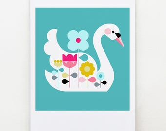 White swan, on Turquoise, print