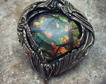 Bronze PMC and Vivid Stain-Glass Ammolite Necklace.