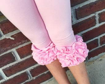 Ruffle Capris - powder pink knit ruffle capris sizes 6m to girls 10 - Free Shipping