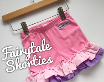 Fairytale Ruffle Shorties, pink and purple Ruffle Shorts - knit ruffle shorties sizes 6m to girls 10 - Free Shipping