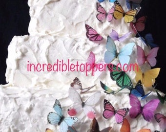 Edible Butterflies - 1/2 Price - YOU CUT out these Edible Butterflies for Cakes, Assorted Edible Cake Decorations