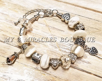 White & Silver European Style Snake Chain Charm Bracelet LOVE with your HEART and SOUL Adjustable Heart Beads Mothers Day Birthday Gift