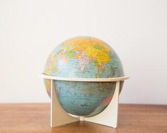 Vintage 1970s 6 inch Tin Globe