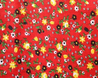 1960's Red Floral Cotton Fabric / Black White Yellow Daisy / By the yard wholesale / stiff cotton unused unwashed