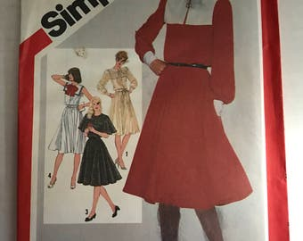 Vintage 80s Simplicity 5291 Sewing Pattern Nautical Style Dress Flutter Sleeve Dress Pattern Size 10 Uncut