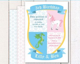 "Unicorn and Dragon/ twins birthday 4x6"" or 5x7 printable invitation and envelope"