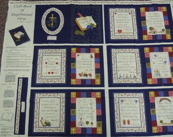 Two Bible fabric panels: Ten Commandments and Inspirational verses by Fabric Traditions  cotton off the bolt condition 1996
