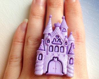 Kawaii Fairytale Castle Ring - Lilac, Sparkle, Sweet Lolita, Pastel, Cute, Statement