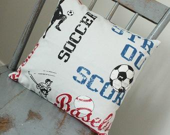 Throw Pillow, Sports Bedding, Soccer, Baseball, Navy Blue, Red Pillow