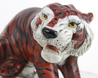 "tiger, ceramic tiger, 15"", tiger figurine,tiger sculpture,jungle cat, red orange, black, stripes, roaring tiger, shabby chic, cottage decor"