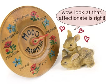 Mood Barometer, wood, kitsch, fun, spin dial, wall hanging, round, a wooden mood ring of sorts