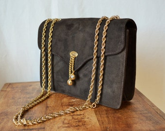 vintage 60's brown suede handbag with gold Monet chain strap