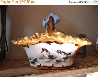 ON SALE for a week VERY Rare 1890 Pouyat Hand painted porcelain - French Antique Porcelain Basket With Bird - Ribbon - Collectible Porcelain