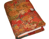 Large Bible Cover, Made to Measure Book Sleeve, Vintage Silk Kimono, Forest Birds, UK Seller, for Hardback Books or Paperback books