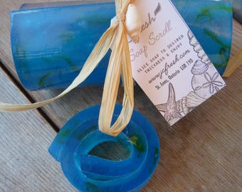 Sea scroll soap - Scent with fresh clothesline - Calendula - SLS free - Phthalate free - Wonderful gift - Favors - Guest soap