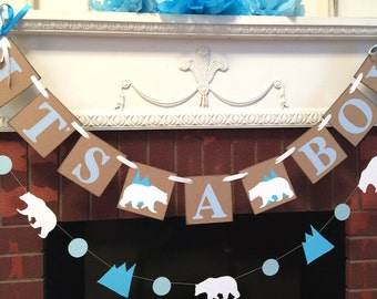 Polar bear  baby shower decorations - winter  bear baby shower - polar bear  it's a boy banner- Winter baby shower decorations