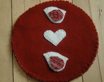 Wool Trivet - Bird and Hearts