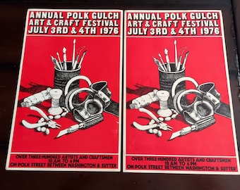 Vintage Polk Street Arts Festival Red Poster July 4 & 5 1976 Retro San Francisco Pen and Ink Illustration Poster Office Bar Man Cave