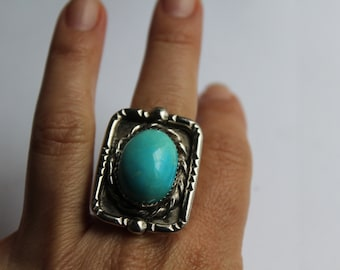 Sterling Silver Ring Navajo Signed piece PE  Rectangle Shape hand crafted Ring