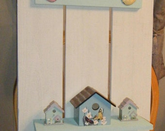 Bird Houses Wall Shelf\\Decorative Wall Shelf with Hooks