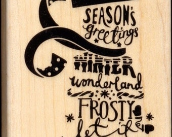 SUBWAY SNOWMAN Wood Mounted Christmas / Winter Rubber Stamp by STAMPABILITIES