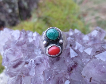 Mid-Century Native American Turquoise and Coral Ring Size 6.5
