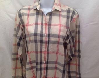 Vintage DVF Diane Von Furstenberg  Button Down Plaid Blouse Long Sleeve sz. 6