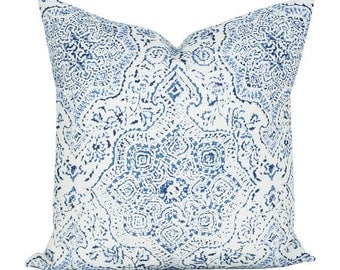 Deeg pillow cover in Blue/Blue on White - ON BOTH SIDES