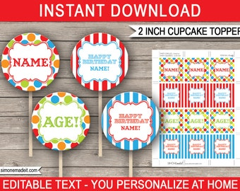 Printable Carnival Cupcake Toppers - Carnival Theme - 2 inch - Carnival Party Decorations - Circus - INSTANT DOWNLOAD with EDITABLE text