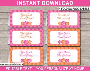 Luau Food Labels - Hawaii Luau Theme Party - Food Buffet Tag - Placecard - Printable Party Decorations - INSTANT DOWNLOAD with EDITABLE text