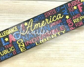 "7/8"", Patriotic Ribbon, Glitter Ribbon, US Designer Ribbon, Pledge Allegiance, July 4th Ribbon, 4th of July Ribbon, July 4th Hair Bow"